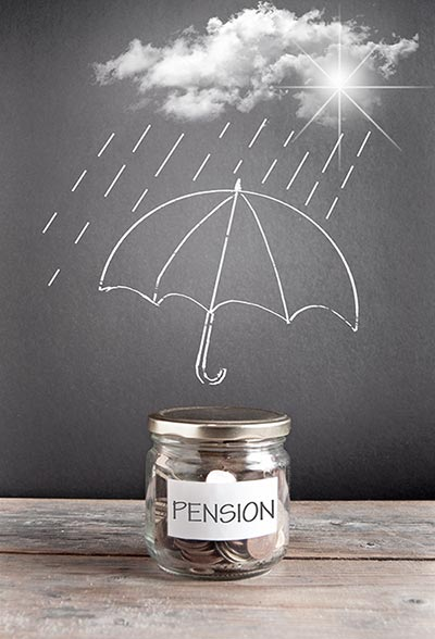 Pension jar with coins in it and cloud raining on umbrella
